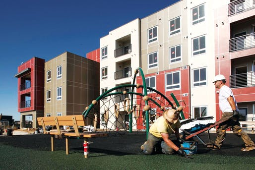 The Bluff Lake affordable rental apartments near MLK Blvd and Havana in Denver, CO, built and managed by Mercy Housing, opened in June 2012.. Image via frontporchstapleton.com.