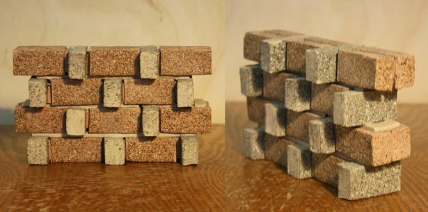 Material model, 2 types of brick, 2 types of mortar