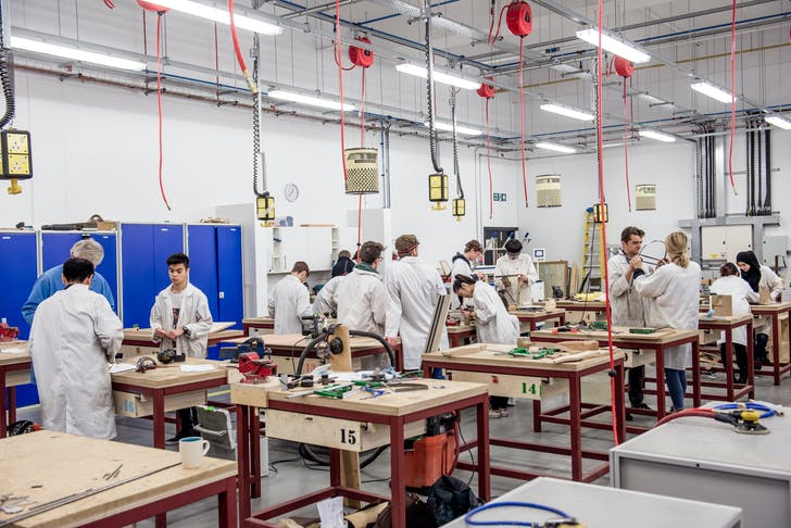 Students working in the Bartlett Manufacturing and Design Exchange workshop. Credit: Stonehouse Photographic.