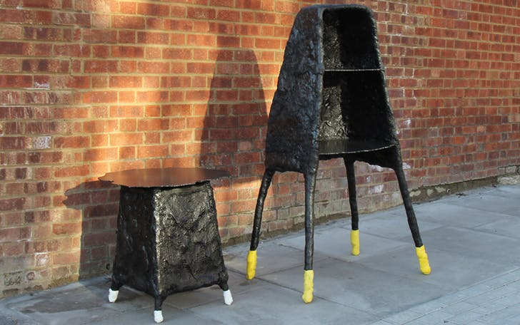 The results of Bitelli's 'White Liners' project was a series of furniture pieces constructed by placing asphalt around a metal armature with road-lining paint used for embellishment. Credit: Bitelli