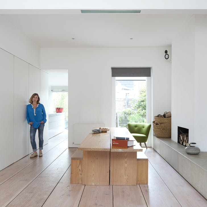 Penelope Chilvers, fashion designer, at her home (AKA Pawson House), designed by John Pawson, London, UK 1999