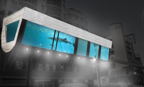 monorail station as street aquarium