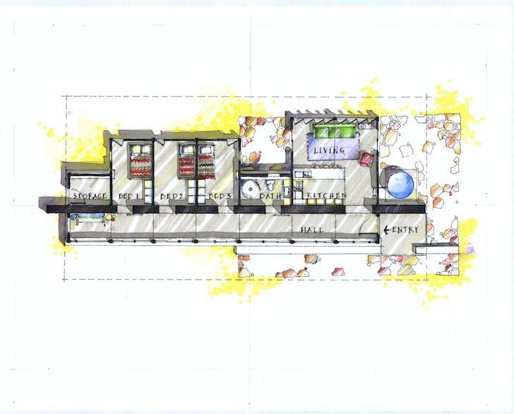 Floor Plan, Rosie Joe House, Navajo Nation, Utah, 2004. Image courtesy of Dialectic.