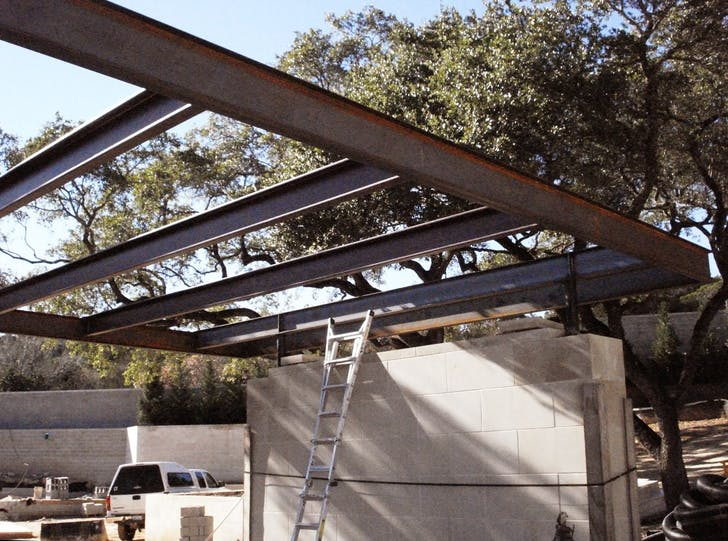 Carport roof structure. Fabricated while working at Cottam Hargrave.