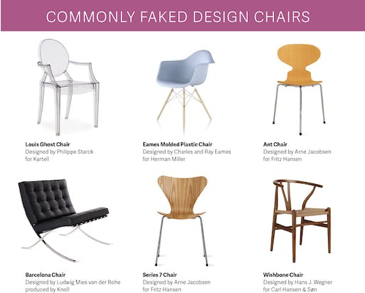 Buyer beware. (Kartell, Herman Miller, Fritz Hansen, Knoll, Carl Hansen & Søn / Graphic by Quartz)