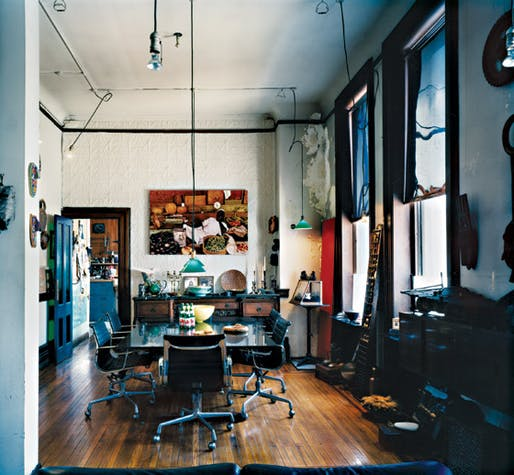 The bankers had their meals here. It's at one end of the open living room. The pressed-tin wall is original. Photo: Leigh Davis via nymag.com.