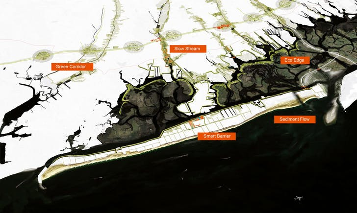 An aerial overview of Interboro Partner's plan, 'Living with the Bay'. Image credit: Interboro Partners