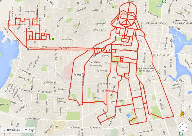 The art is already inside the city—you just have to expose it: Stephen Lund GPS-doodled this Dark Lord of the Sith onto the grid of Victoria, BC. (Image via gpsdoodles.com)