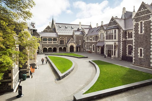 Christchurch Arts Centre Clock Tower & Great Hall by Warren and Mahoney Architects. Photo: Sarah Rowlands.
