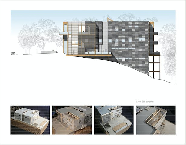 South East Elevation & 1/16 Scale Model Photos