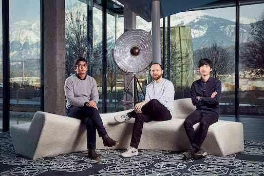 2018 Designers of the Future Award winners (left to right) Study O Portable, Frank Kolkman, and Yosuke Ushigome. Image: Swarovski.