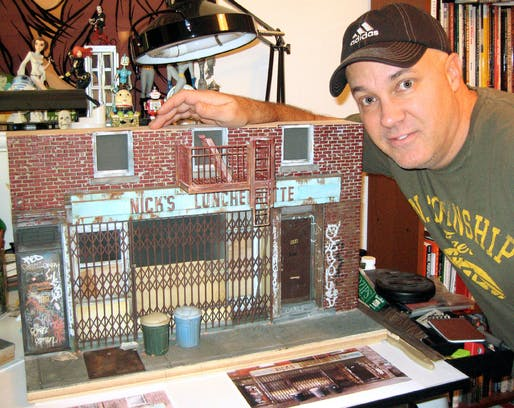 Randy Hage with scale model of Nick's Luncheonette,now closed, at 196 Broadway in Brooklyn