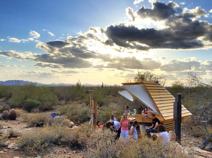 The Taliesin community celebrates 'Icarus', a new desert shelter, at Taliesin West. Photo by Jason Silverman.