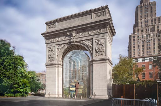 "Rendering of 'Good Fences Make Good Neighbors"" at Washington Square Park. Courtesy of Public Art Fund"
